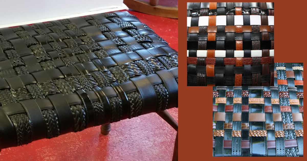 Recycled Leather Belt Stool - Saturday PM