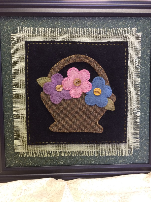 Wool Applique Basket of Blossoms